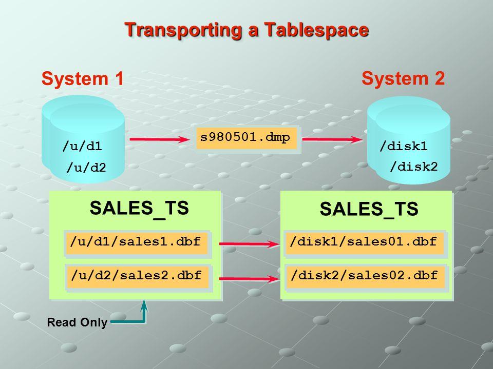 Transporting a Tablespace /u/d1/sales1.dbf /u/d2/sales2.dbf SALES _ TS /u/d1 /u/d2 /disk1 /disk2 /disk1/sales01.dbf /disk2/sales02.dbf SALES_TS s98050