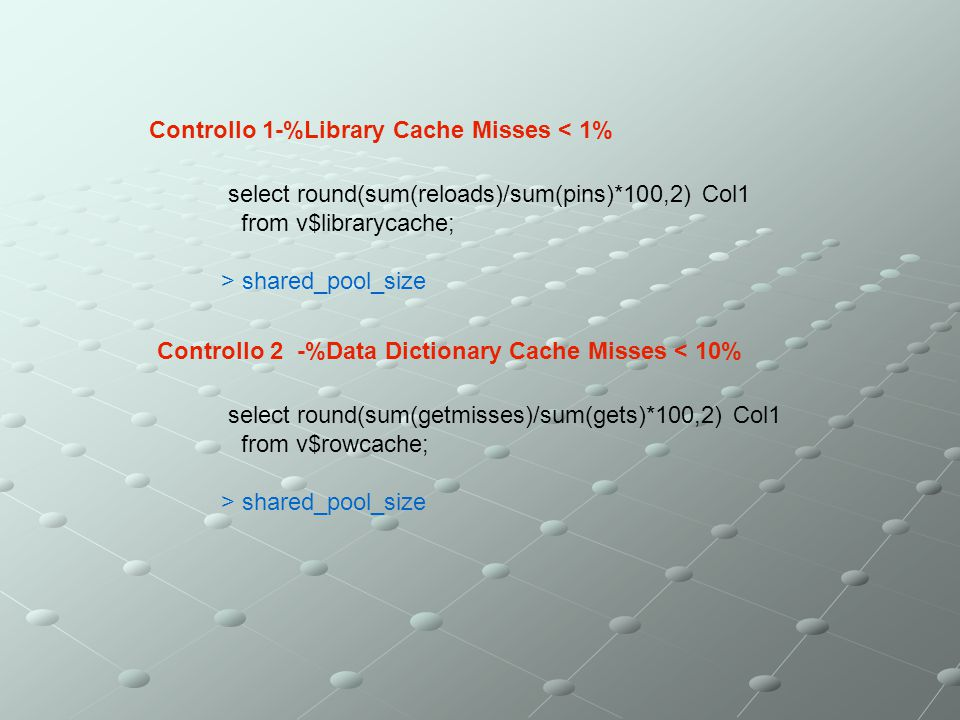 Controllo 1-%Library Cache Misses < 1% select round(sum(reloads)/sum(pins)*100,2) Col1 from v$librarycache; > shared_pool_size Controllo 2 -%Data Dict