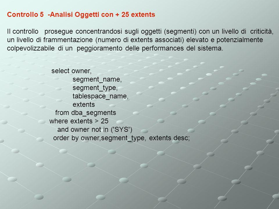 Controllo 5 -Analisi Oggetti con + 25 extents Il controllo prosegue concentrandosi sugli oggetti (segmenti) con un livello di criticità, un livello di