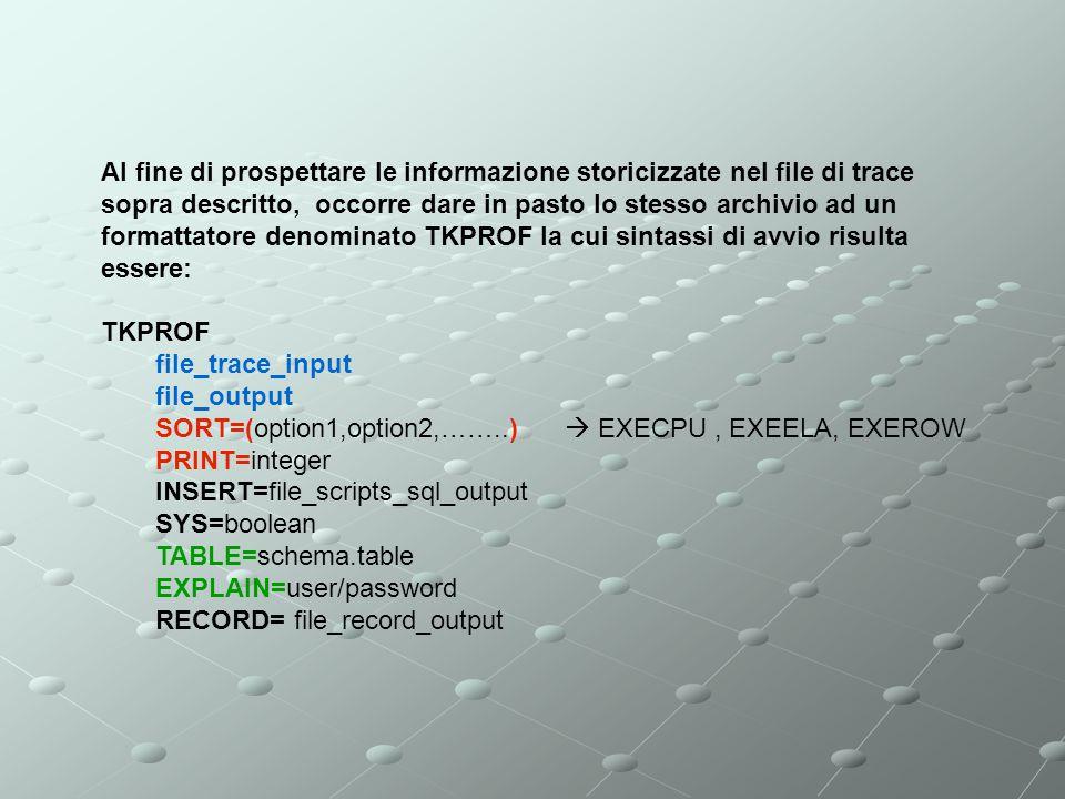 Al fine di prospettare le informazione storicizzate nel file di trace sopra descritto, occorre dare in pasto lo stesso archivio ad un formattatore den