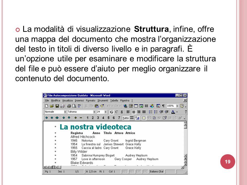 19 La modalità di visualizzazione Struttura, infine, offre una mappa del documento che mostra l'organizzazione del testo in titoli di diverso livello