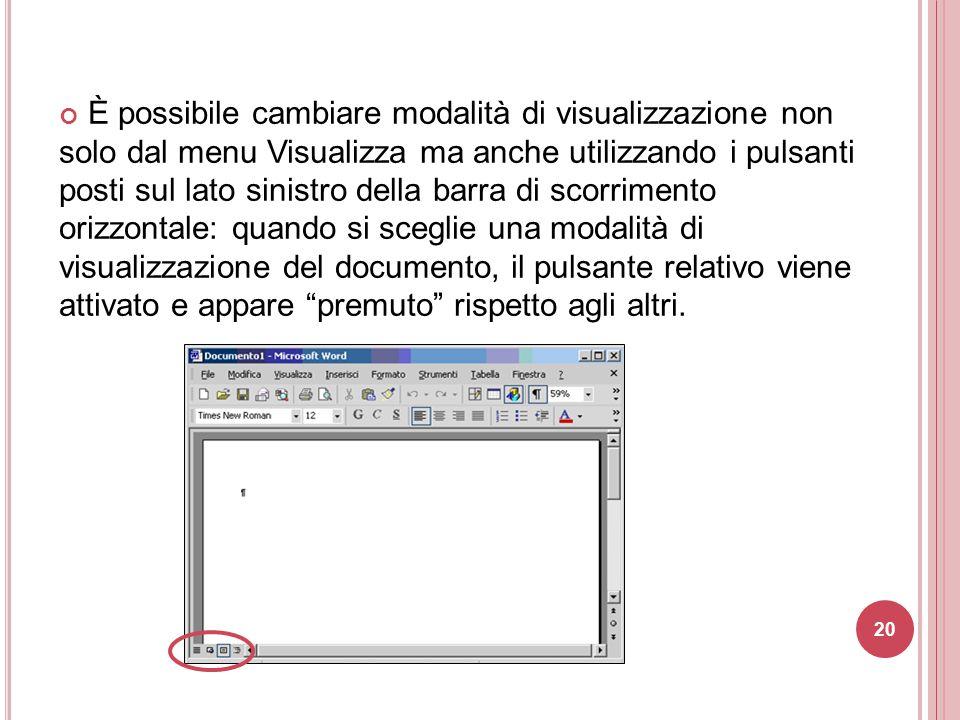 20 È possibile cambiare modalità di visualizzazione non solo dal menu Visualizza ma anche utilizzando i pulsanti posti sul lato sinistro della barra d