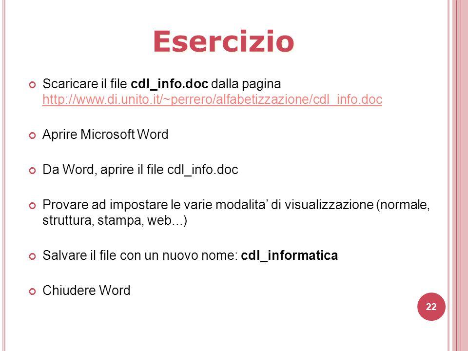 22 Scaricare il file cdl_info.doc dalla pagina http://www.di.unito.it/~perrero/alfabetizzazione/cdl_info.doc http://www.di.unito.it/~perrero/alfabetiz