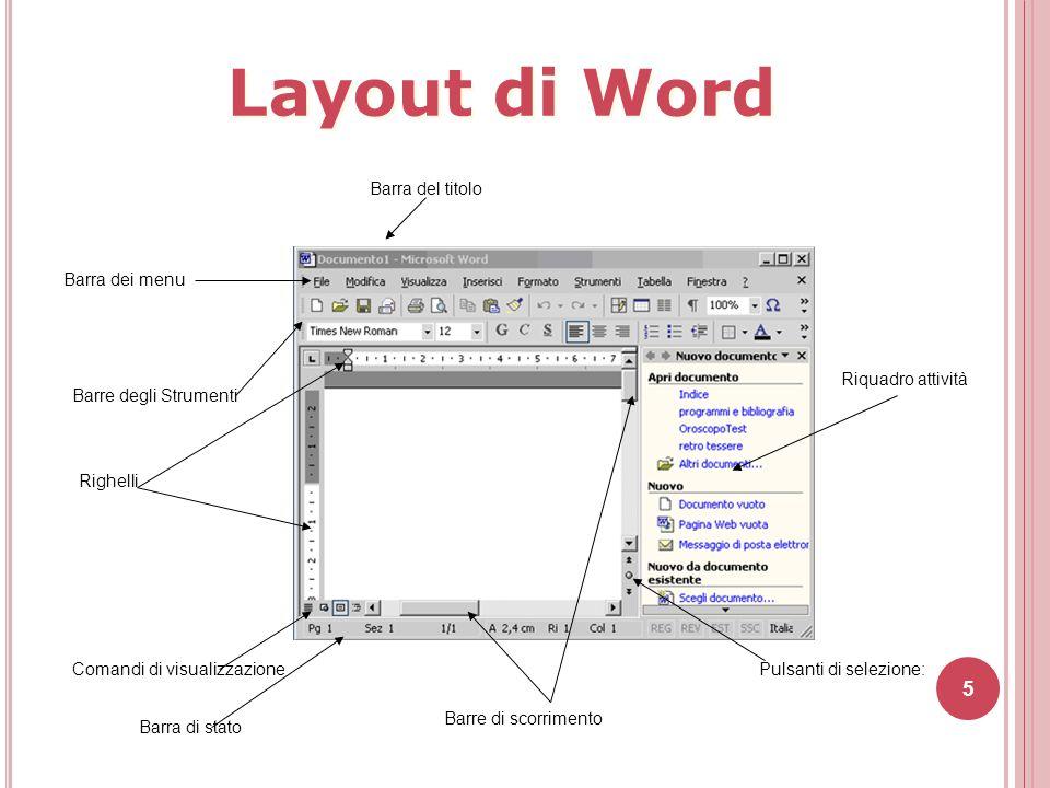 6 Quando si esegue il programma, Word visualizza immediatamente un nuovo documento vuoto sul quale è possibile iniziare il proprio lavoro.