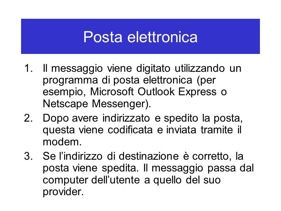 Posta elettronica 1.Il messaggio viene digitato utilizzando un programma di posta elettronica (per esempio, Microsoft Outlook Express o Netscape Messe