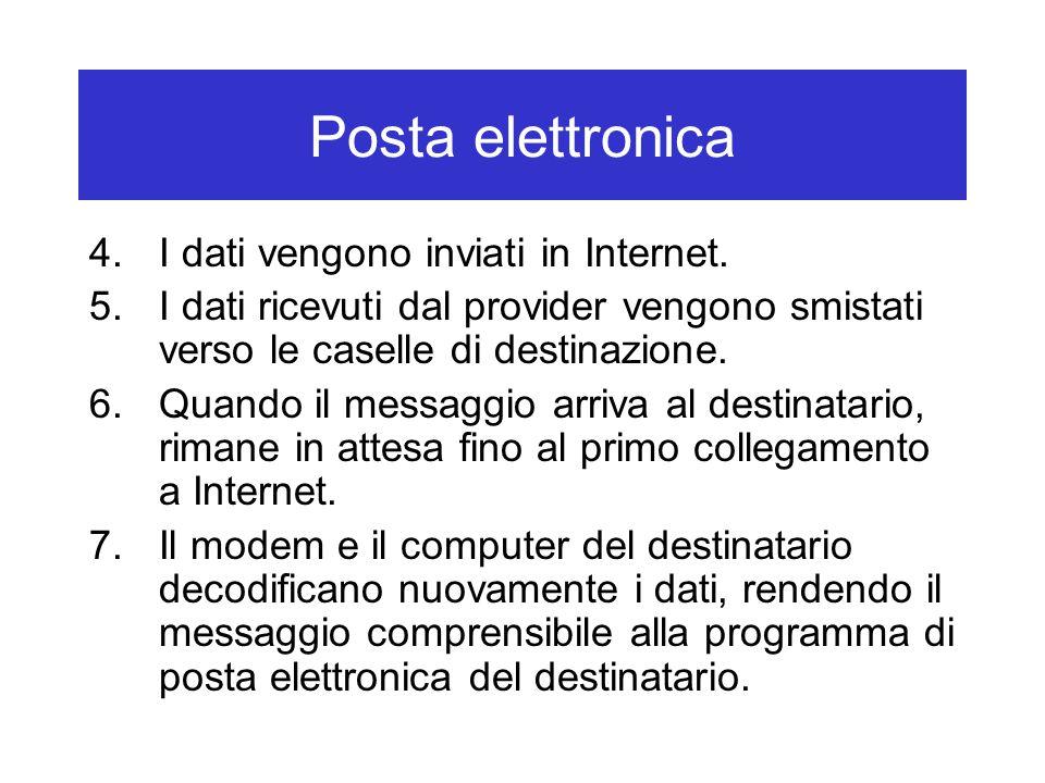 Posta elettronica 4.I dati vengono inviati in Internet. 5.I dati ricevuti dal provider vengono smistati verso le caselle di destinazione. 6.Quando il