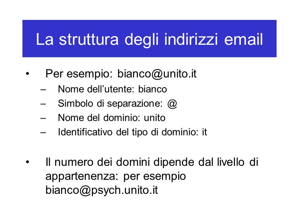 La struttura degli indirizzi email Per esempio: bianco@unito.it –Nome dell'utente: bianco –Simbolo di separazione: @ –Nome del dominio: unito –Identif