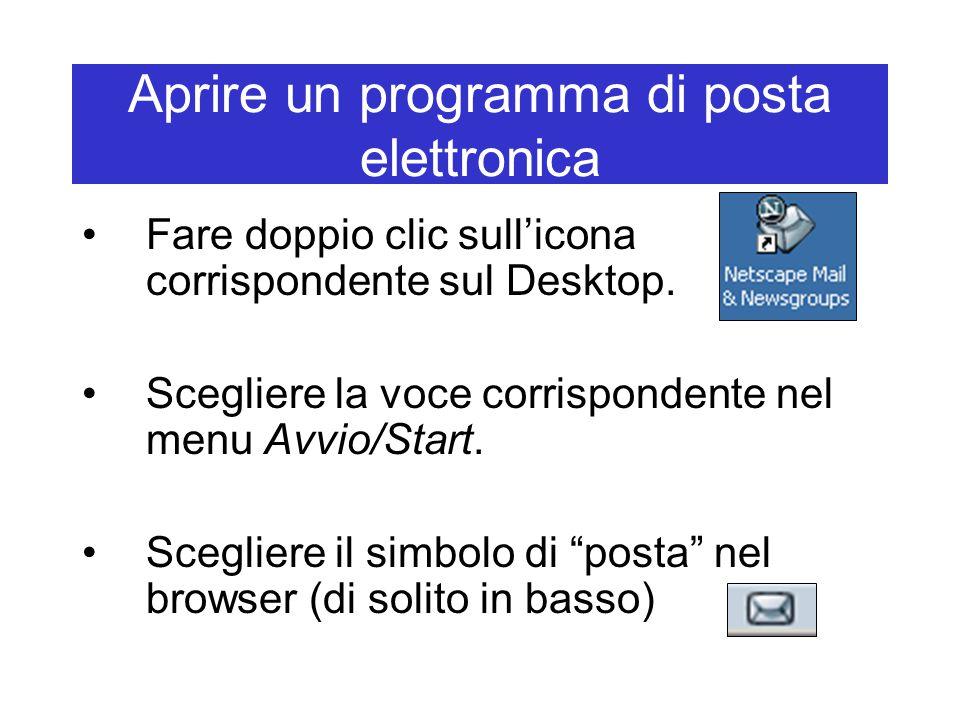 Aprire un programma di posta elettronica Fare doppio clic sull'icona corrispondente sul Desktop. Scegliere la voce corrispondente nel menu Avvio/Start