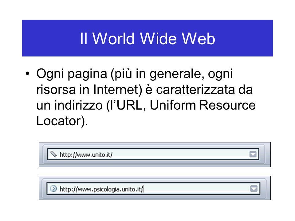 Ogni pagina (più in generale, ogni risorsa in Internet) è caratterizzata da un indirizzo (l'URL, Uniform Resource Locator).