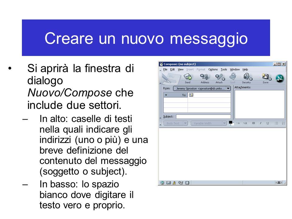 Creare un nuovo messaggio Si aprirà la finestra di dialogo Nuovo/Compose che include due settori. –In alto: caselle di testi nella quali indicare gli