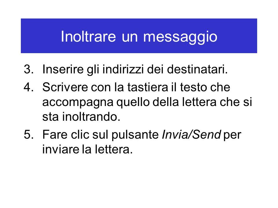 Inoltrare un messaggio 3.Inserire gli indirizzi dei destinatari. 4.Scrivere con la tastiera il testo che accompagna quello della lettera che si sta in