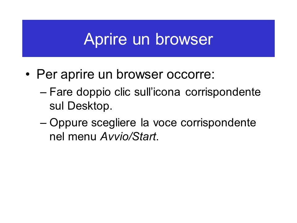 Aprire un browser Per aprire un browser occorre: –Fare doppio clic sull'icona corrispondente sul Desktop. –Oppure scegliere la voce corrispondente nel