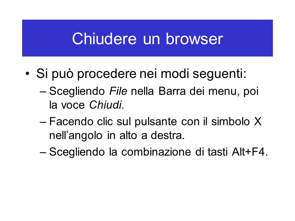 Chiudere un browser Si può procedere nei modi seguenti: –Scegliendo File nella Barra dei menu, poi la voce Chiudi. –Facendo clic sul pulsante con il s