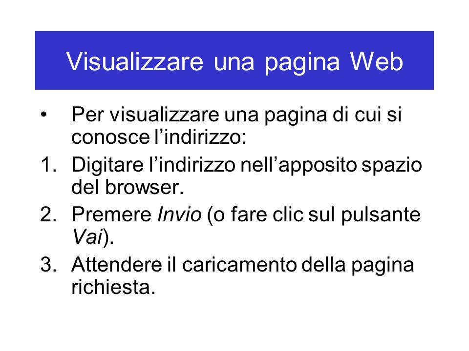 Visualizzare una pagina Web Per visualizzare una pagina di cui si conosce l'indirizzo: 1.Digitare l'indirizzo nell'apposito spazio del browser. 2.Prem