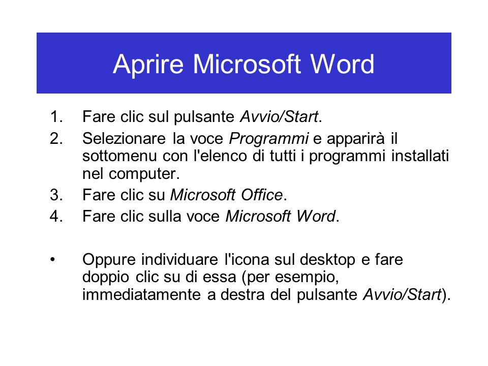 Salvare un documento Alcuni formati per i documenti di testo: –DOC: per i documenti creati con Microsoft Word.