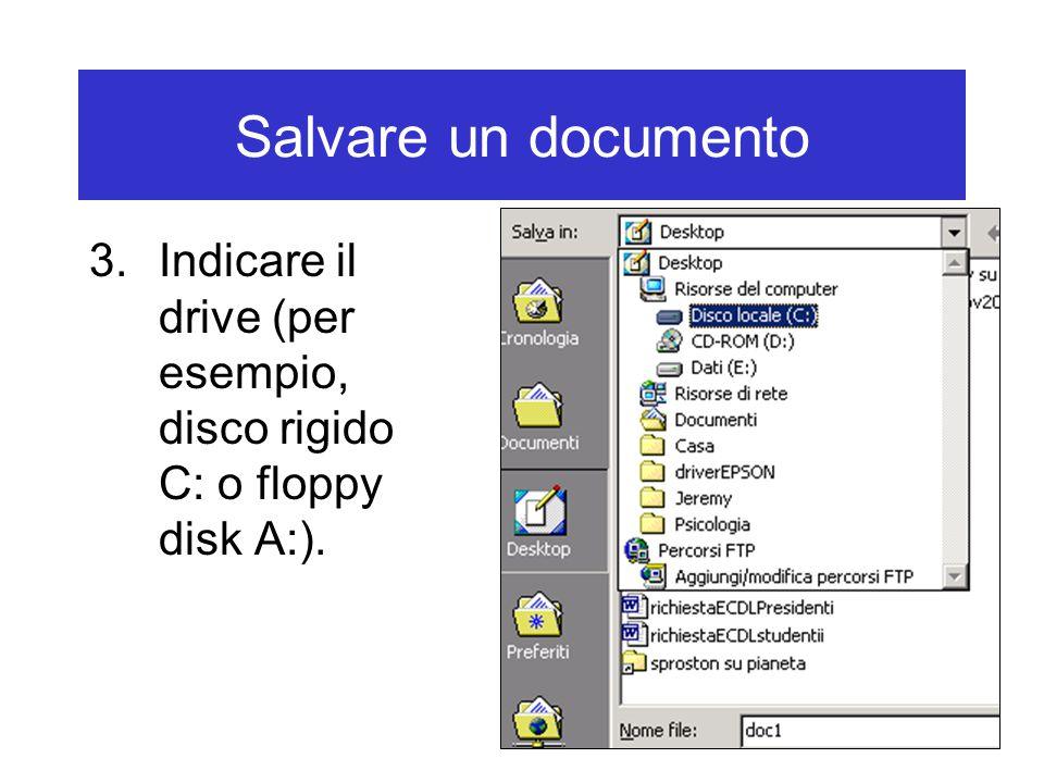 Salvare un documento 4.Indicare la cartella nella quale si desidera memorizzare il file.