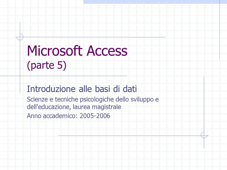 Microsoft Access (parte 5) Introduzione alle basi di dati Scienze e tecniche psicologiche dello sviluppo e dell educazione, laurea magistrale Anno accademico: 2005-2006