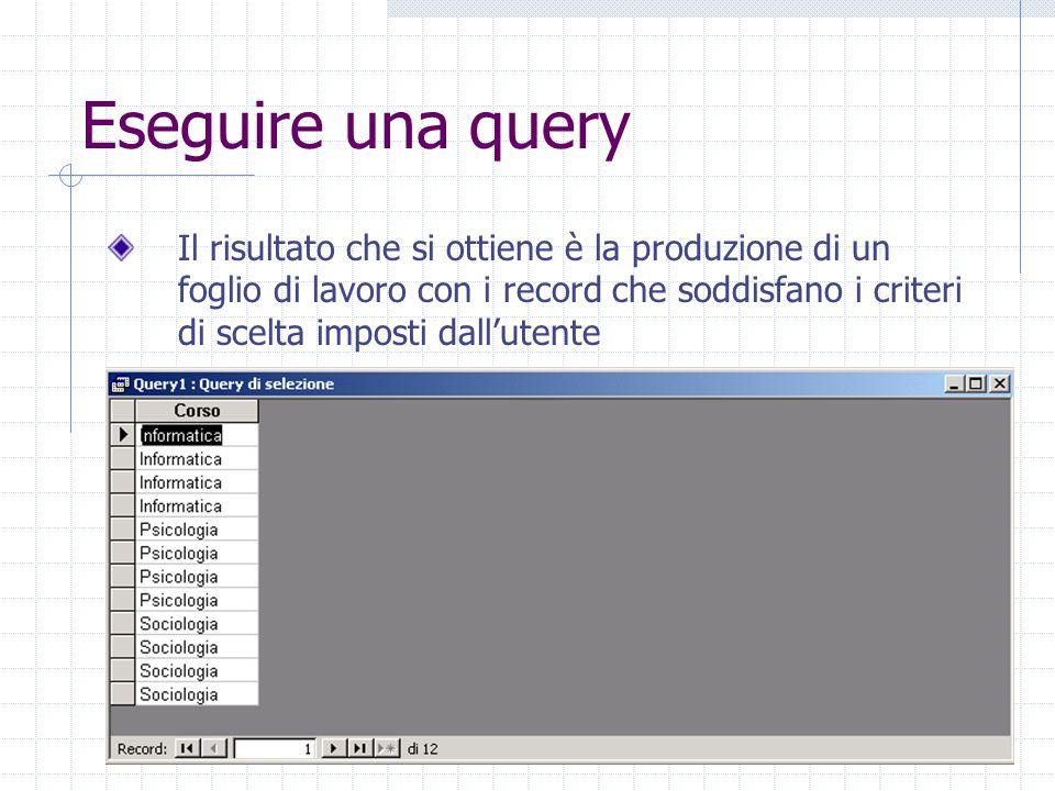 Eseguire una query Il risultato che si ottiene è la produzione di un foglio di lavoro con i record che soddisfano i criteri di scelta imposti dall'utente