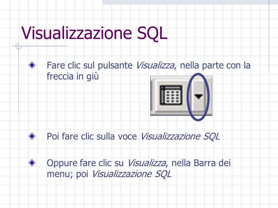 Visualizzazione SQL Fare clic sul pulsante Visualizza, nella parte con la freccia in giù Poi fare clic sulla voce Visualizzazione SQL Oppure fare clic su Visualizza, nella Barra dei menu; poi Visualizzazione SQL