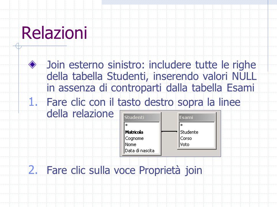 Relazioni Join esterno sinistro: includere tutte le righe della tabella Studenti, inserendo valori NULL in assenza di controparti dalla tabella Esami 1.
