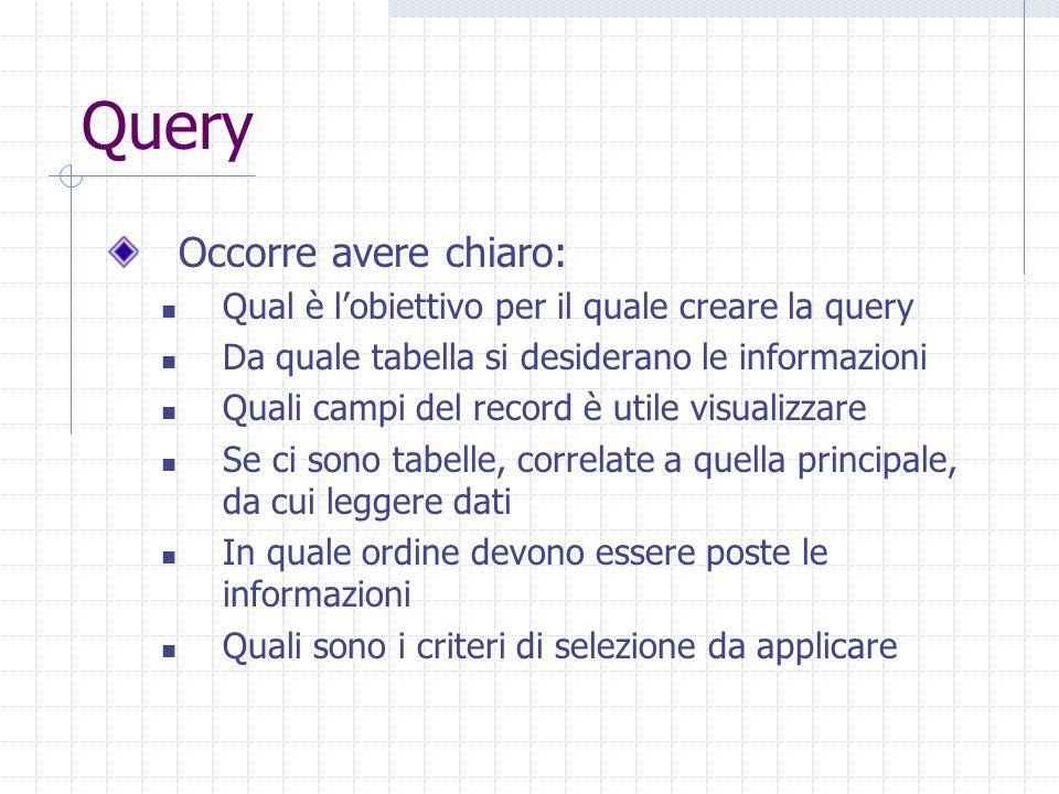 Query Occorre avere chiaro: Qual è l'obiettivo per il quale creare la query Da quale tabella si desiderano le informazioni Quali campi del record è utile visualizzare Se ci sono tabelle, correlate a quella principale, da cui leggere dati In quale ordine devono essere poste le informazioni Quali sono i criteri di selezione da applicare