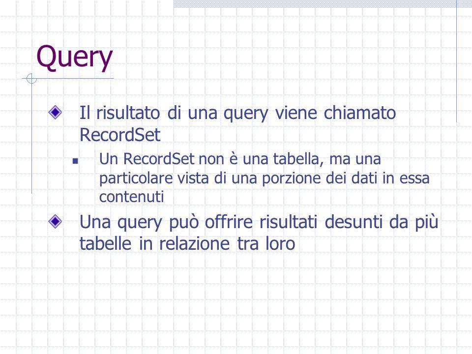 Query Il risultato di una query viene chiamato RecordSet Un RecordSet non è una tabella, ma una particolare vista di una porzione dei dati in essa contenuti Una query può offrire risultati desunti da più tabelle in relazione tra loro
