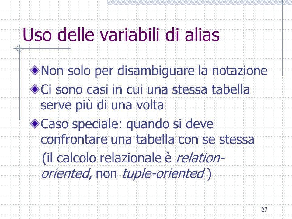 27 Uso delle variabili di alias Non solo per disambiguare la notazione Ci sono casi in cui una stessa tabella serve più di una volta Caso speciale: quando si deve confrontare una tabella con se stessa (il calcolo relazionale è relation- oriented, non tuple-oriented )