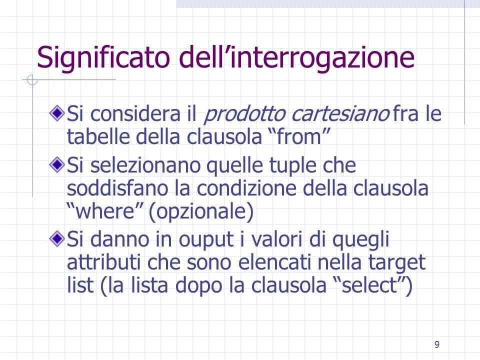 9 Significato dell'interrogazione Si considera il prodotto cartesiano fra le tabelle della clausola from Si selezionano quelle tuple che soddisfano la condizione della clausola where (opzionale) Si danno in ouput i valori di quegli attributi che sono elencati nella target list (la lista dopo la clausola select )