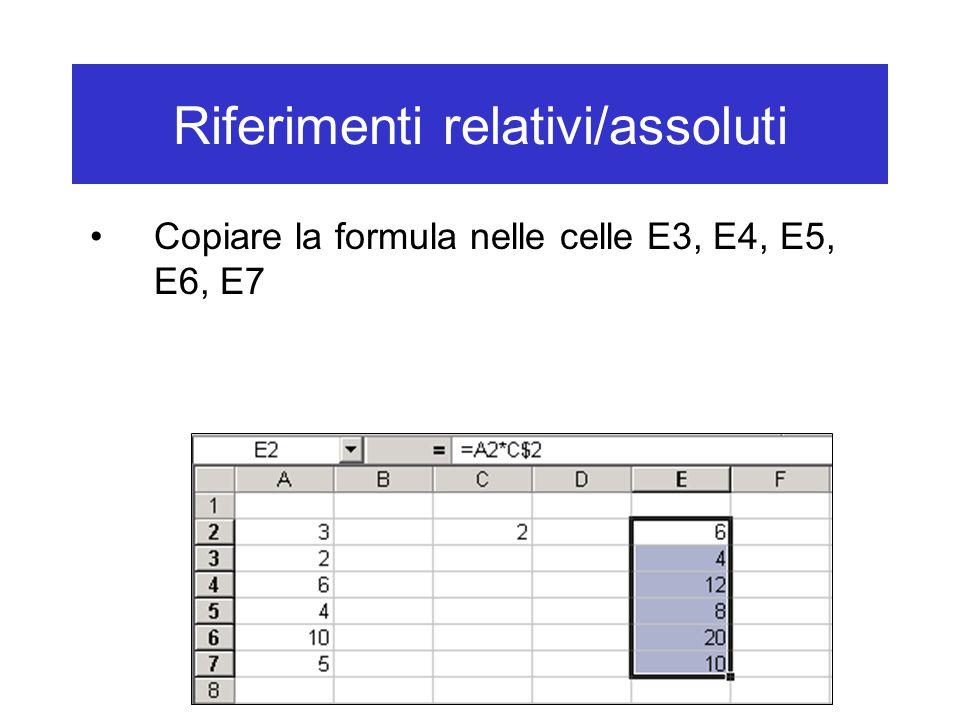 Riferimenti relativi/assoluti Copiare la formula nelle celle E3, E4, E5, E6, E7