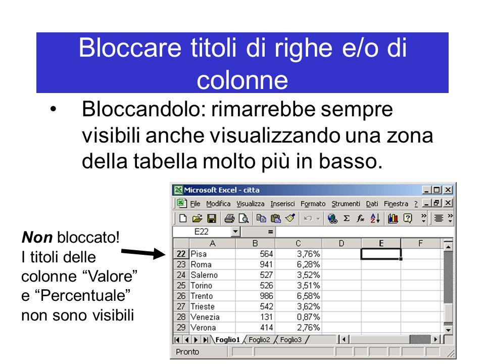 Bloccare titoli di righe e/o di colonne Bloccandolo: rimarrebbe sempre visibili anche visualizzando una zona della tabella molto più in basso.
