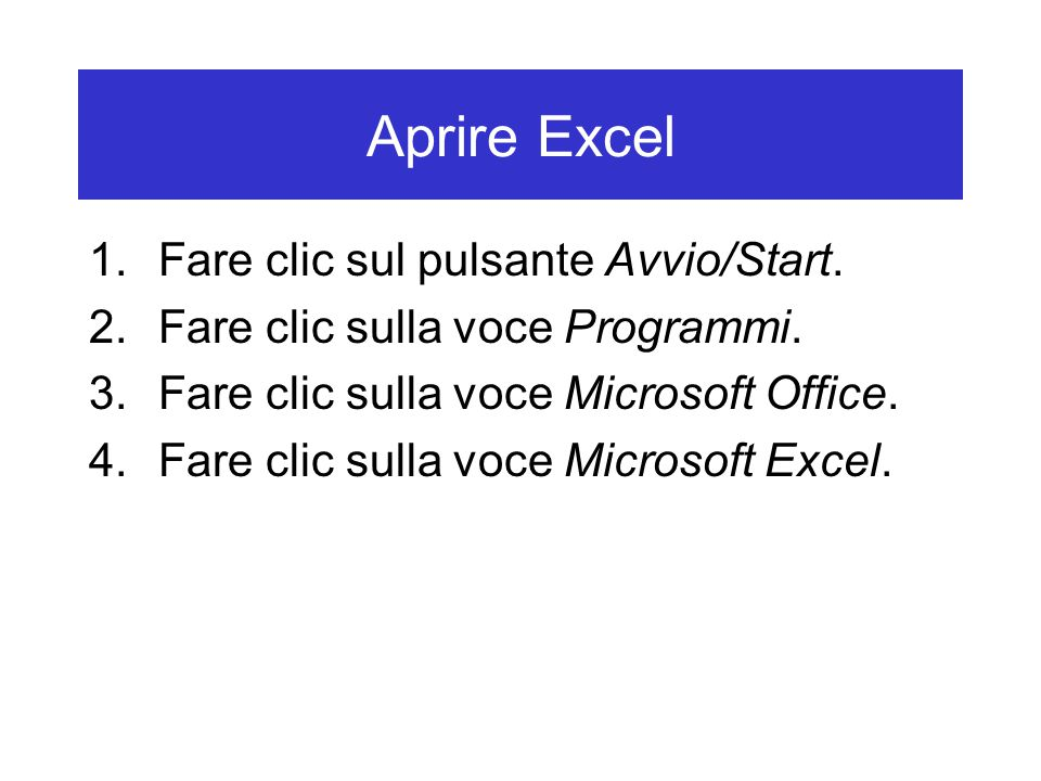 Aprire Excel 1.Fare clic sul pulsante Avvio/Start.