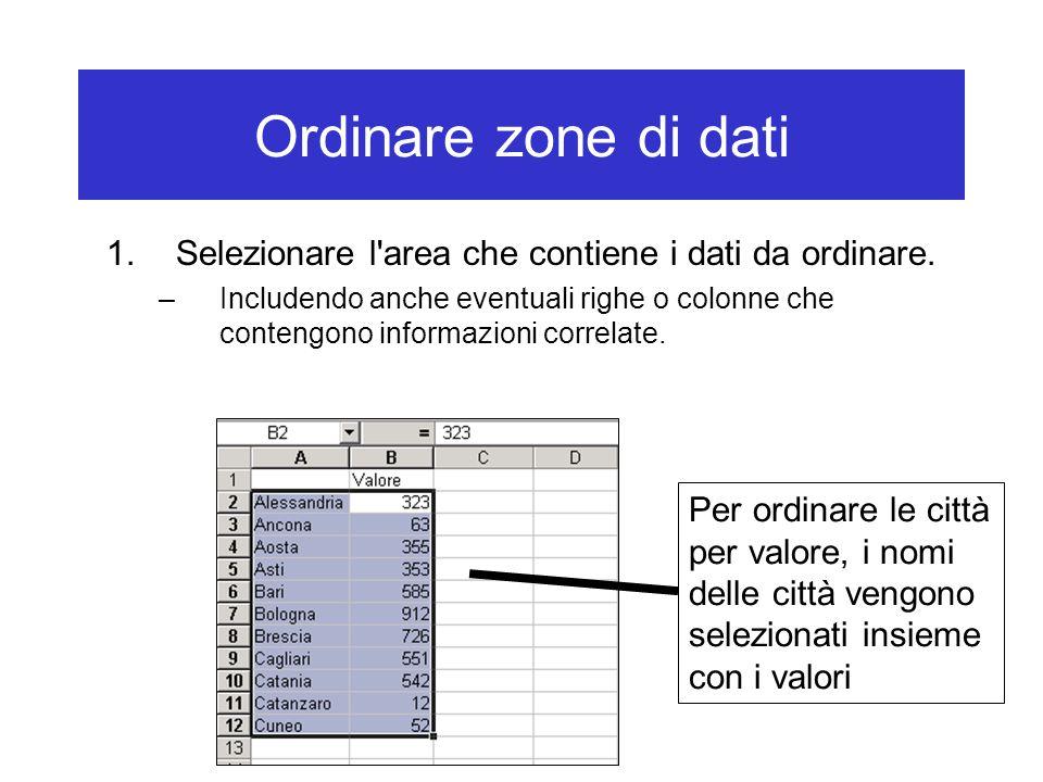 Ordinare zone di dati 1.Selezionare l area che contiene i dati da ordinare.