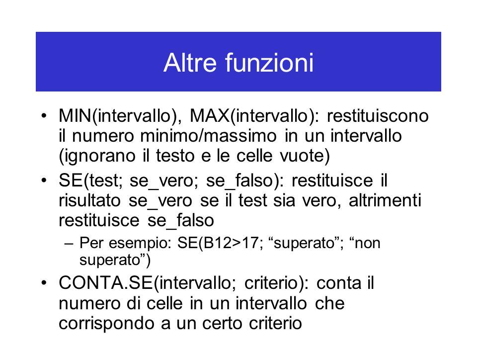Altre funzioni MIN(intervallo), MAX(intervallo): restituiscono il numero minimo/massimo in un intervallo (ignorano il testo e le celle vuote) SE(test; se_vero; se_falso): restituisce il risultato se_vero se il test sia vero, altrimenti restituisce se_falso –Per esempio: SE(B12>17; superato ; non superato ) CONTA.SE(intervallo; criterio): conta il numero di celle in un intervallo che corrispondo a un certo criterio