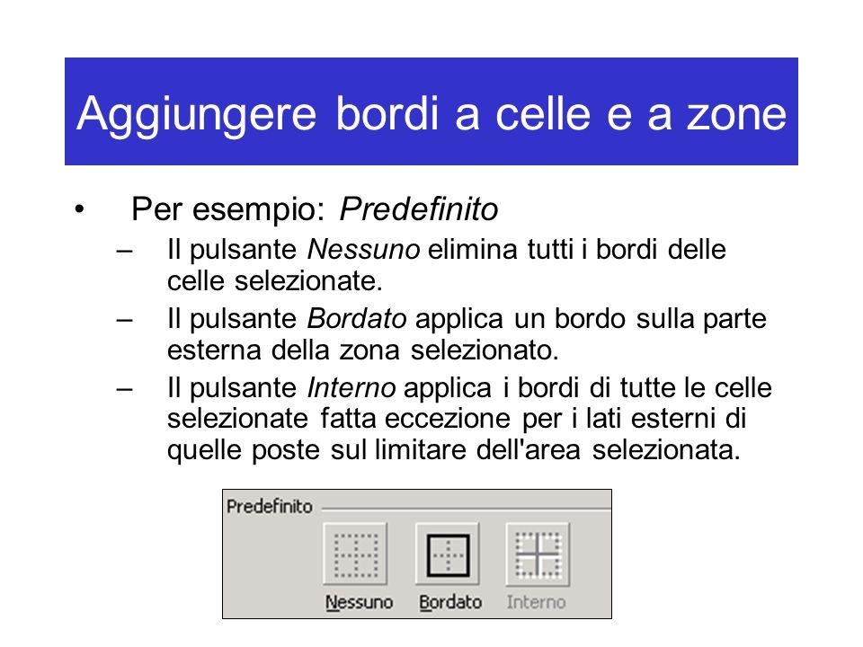 Aggiungere bordi a celle e a zone Per esempio: Predefinito –Il pulsante Nessuno elimina tutti i bordi delle celle selezionate.