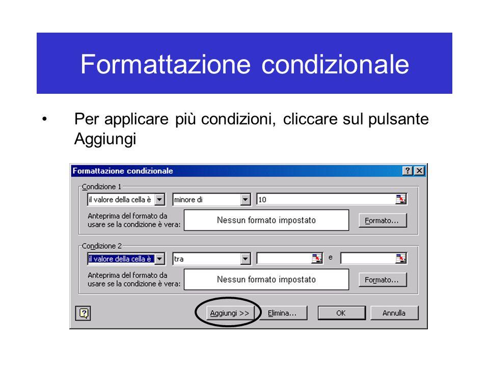 Formattazione condizionale Per applicare più condizioni, cliccare sul pulsante Aggiungi