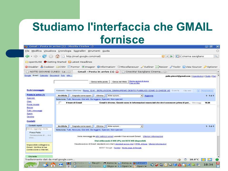 Studiamo l interfaccia che GMAIL fornisce