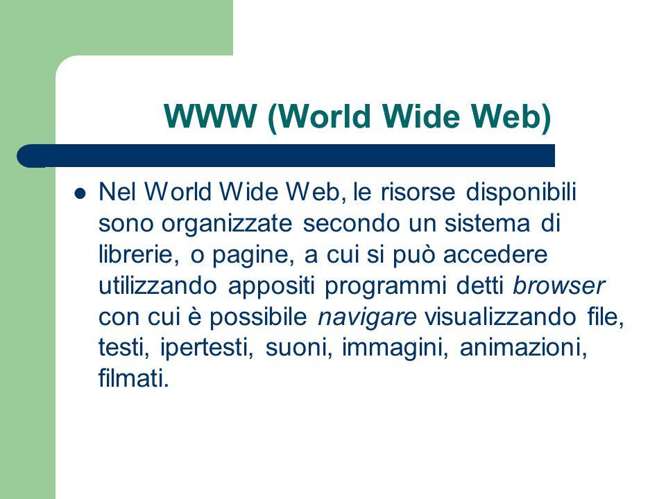 WWW (World Wide Web) Nel World Wide Web, le risorse disponibili sono organizzate secondo un sistema di librerie, o pagine, a cui si può accedere utilizzando appositi programmi detti browser con cui è possibile navigare visualizzando file, testi, ipertesti, suoni, immagini, animazioni, filmati.