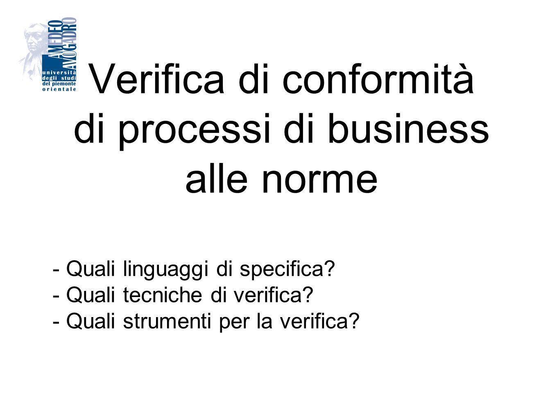 Verifica di conformità di processi di business alle norme - Quali linguaggi di specifica? - Quali tecniche di verifica? - Quali strumenti per la verif