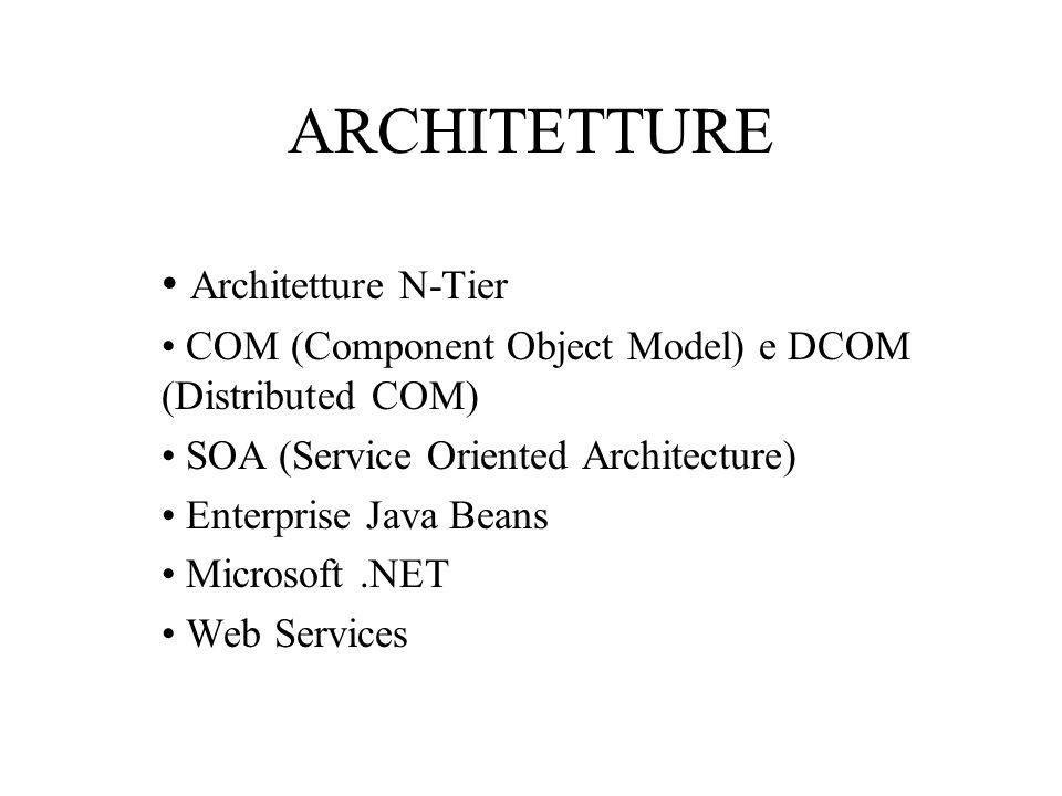 ARCHITETTURE Architetture N-Tier COM (Component Object Model) e DCOM (Distributed COM) SOA (Service Oriented Architecture) Enterprise Java Beans Microsoft.NET Web Services