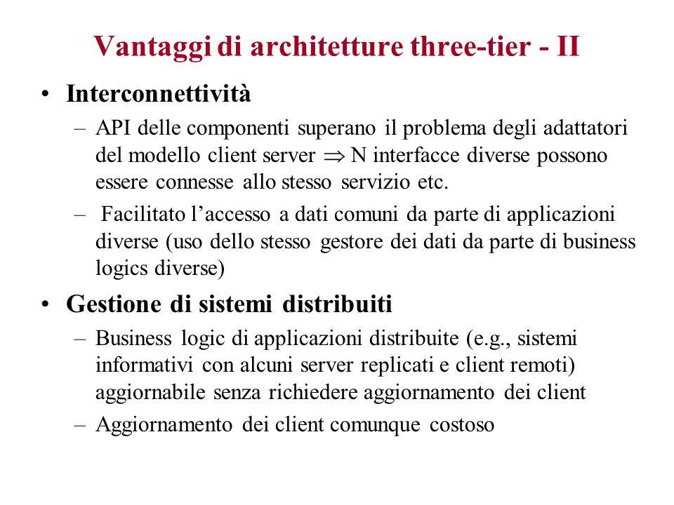 Vantaggi di architetture three-tier - I Flessibilità e modificabilità di sistemi formati da componenti separate –componenti utilizzabili in sistemi di