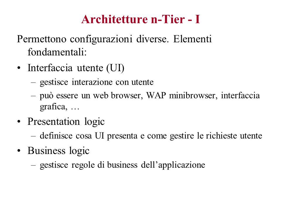 Three-tier è concettuale, non fisico Si possono implementare architetture three-tier su due livelli di macchine, o anche su uno solo...