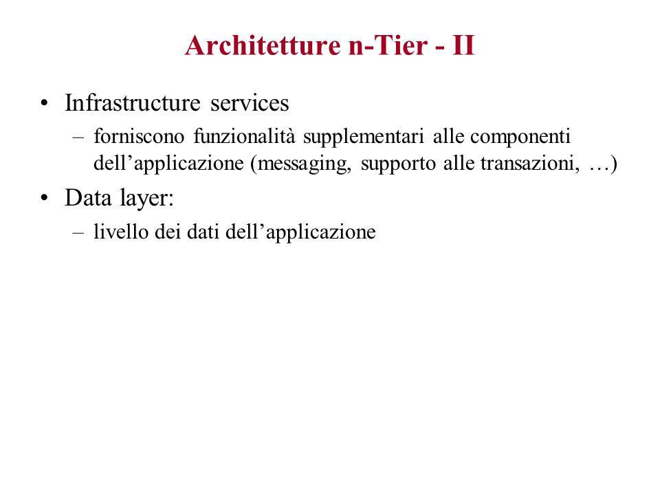 Architetture n-Tier - I Permettono configurazioni diverse. Elementi fondamentali: Interfaccia utente (UI) –gestisce interazione con utente –può essere
