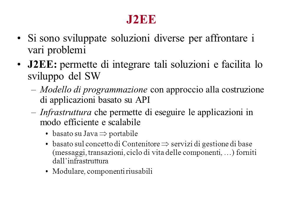J2EE Si sono sviluppate soluzioni diverse per affrontare i vari problemi J2EE: permette di integrare tali soluzioni e facilita lo sviluppo del SW –Modello di programmazione con approccio alla costruzione di applicazioni basato su API –Infrastruttura che permette di eseguire le applicazioni in modo efficiente e scalabile basato su Java  portabile basato sul concetto di Contenitore  servizi di gestione di base (messaggi, transazioni, ciclo di vita delle componenti, …) forniti dall'infrastruttura Modulare, componenti riusabili