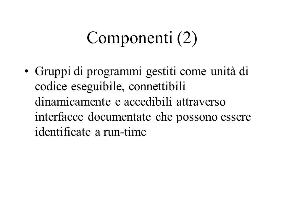 Componenti Possiedono interfacce standard (almeno un per l'introspezione) Applicazioni non complete Distribuibili separatamente Utilizzabili in combin