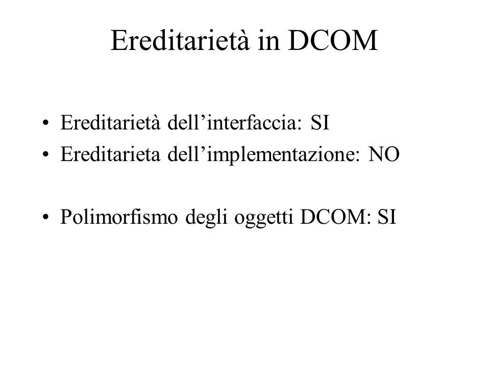 Ereditarietà in DCOM Ereditarietà dell'interfaccia: SI Ereditarieta dell'implementazione: NO Polimorfismo degli oggetti DCOM: SI