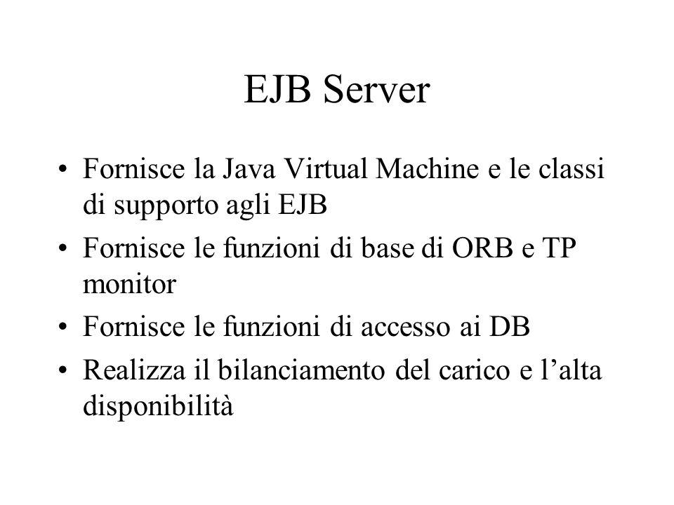 Elementi di un ambiente EJB EJB Container Home Object (Remote) Crea, distrugge, cerca Sicurezza - accesso ai dati - transazioni,... EJB Server