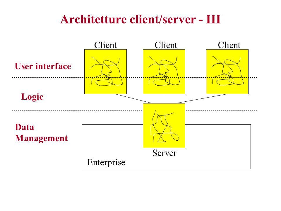 Architetture client/server - I Dalla fine degli anni '70 alla metà degli anni '80 –Diffusione di server più piccoli ed economici dei mainframe, e di workstations e PC –Diffusione di RDBMS Suddivisione delle applicazioni in due parti: –backend (server): gestione di database (+ o – complessi) e dei compiti di manipolazione dei dati –frontend (client): gestione interfaccia utente  maggiore scalabilità, rispetto a monoliti (carico computazionale distrbuito sui client)  sviluppo più veloce di applicazioni che accedono agli (stessi) dati