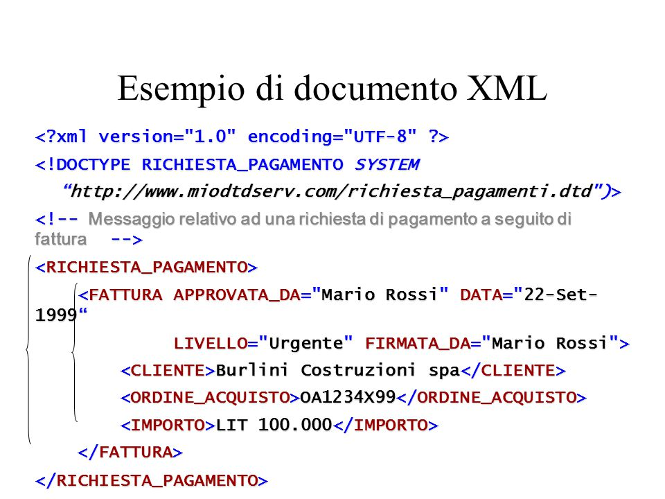 eXtensible Markup Language (XML) Standard del W3C Deriva dallo Standard Generalized Markup Language (SGML) come l'HTML Orientato alla rappresentazione