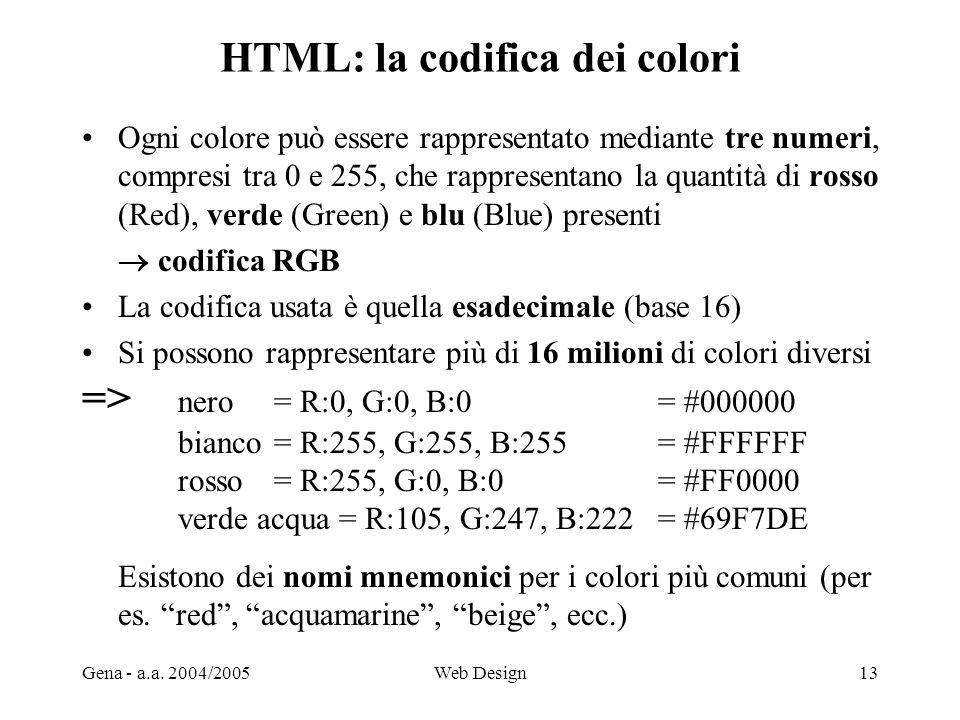 Gena - a.a. 2004/2005Web Design13 HTML: la codifica dei colori Ogni colore può essere rappresentato mediante tre numeri, compresi tra 0 e 255, che rap