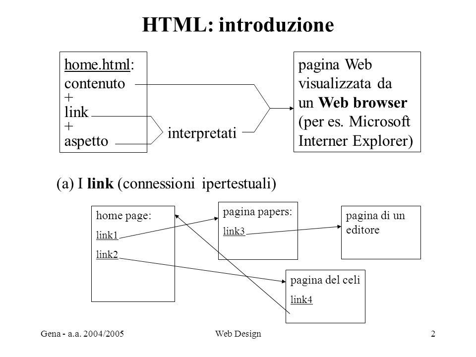 Gena - a.a. 2004/2005Web Design2 HTML: introduzione home page: link1 link2 pagina papers: link3 pagina di un editore pagina del celi link4 (a) I link
